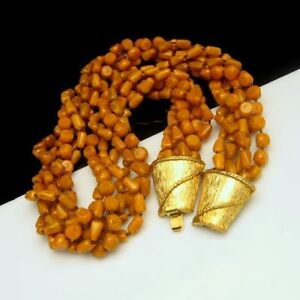 Vintage-Torsade-Necklace-6-Strands-Mid-Century-Butterscotch-Beads-Chunky-Yellow