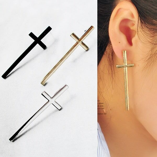 New hotsale Retro Temperament Cross Ear Nail Lovers Ear Stud Earring 3 Colors