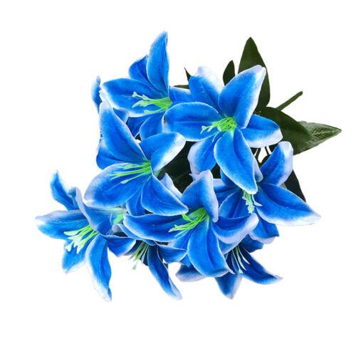 Artificial 10 Head Silk Lillies Flowers Vase Bouquet Wedding Party Decor Lovely