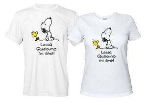 new style 7ab73 95162 Dettagli su Snoopy e Woodstock Lassù Qualcuno mi Ama Maglietta Divertente  Uomo Donna Bianca