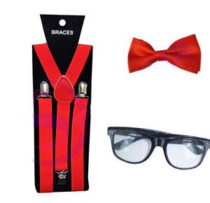 Geek Nerd Bowtie Fancy Dress Costume w// Glasses Orange Braces Bow Tie