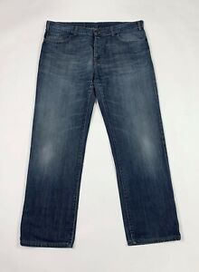 Benetton jeans uomo usato gamba dritta denim W38 tg 52 straight boyfriend T6775