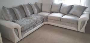 newest 88158 55832 Details about Shannon Corner Sofa Crushed Velvet Fabric White Silver 3+2  Seater Armchair