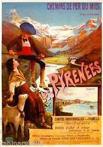 Les Pyrenees Biarritz France French Europe Vintage Travel Advertisement Poster