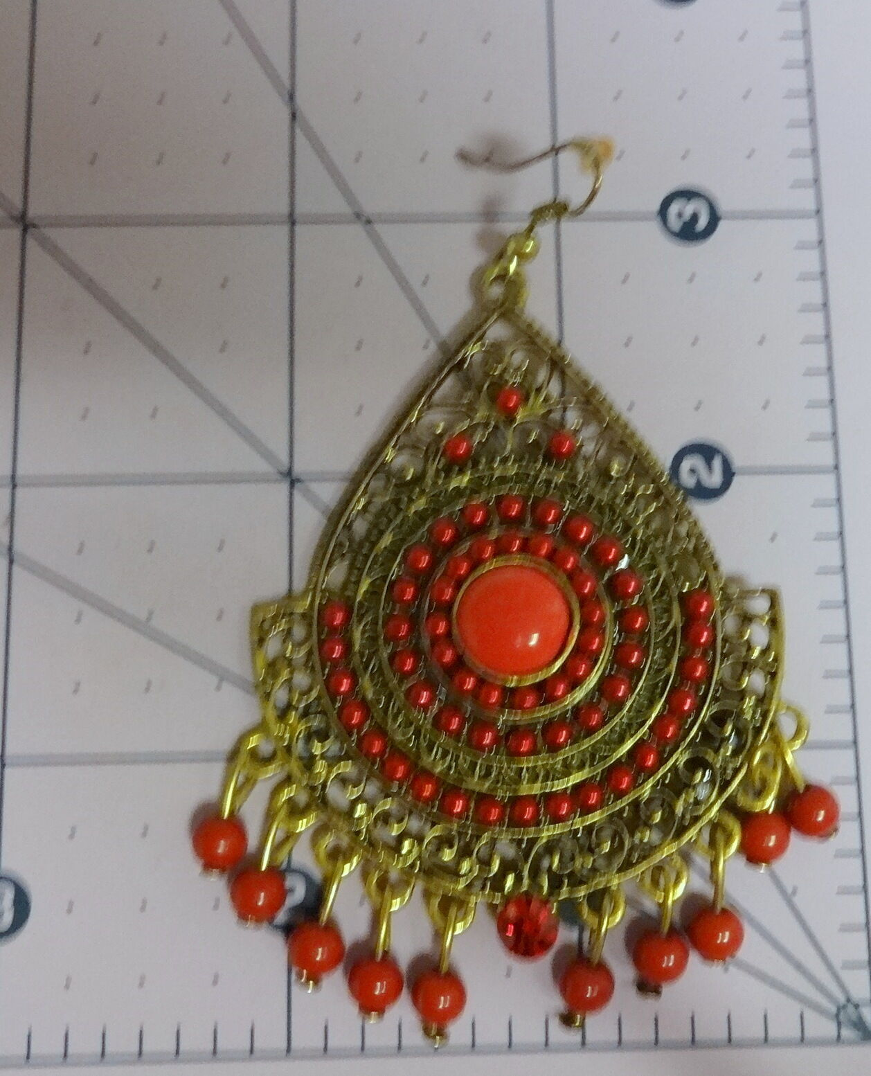 Ethnic Red Indian round disc earring hand enamelled Exclusive gift for her Hook fitting All 925 Silver with drop feather design