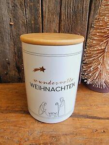 Keksdose Weihnachten 15 cm Keramik Bambusdeckel Keks Plätzchen Deko Tisch