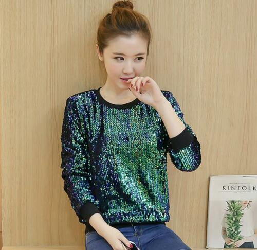 Womens Sequins Bling Loose Fit Sweater Blouse Loose Fit Crewneck Tops Casual New