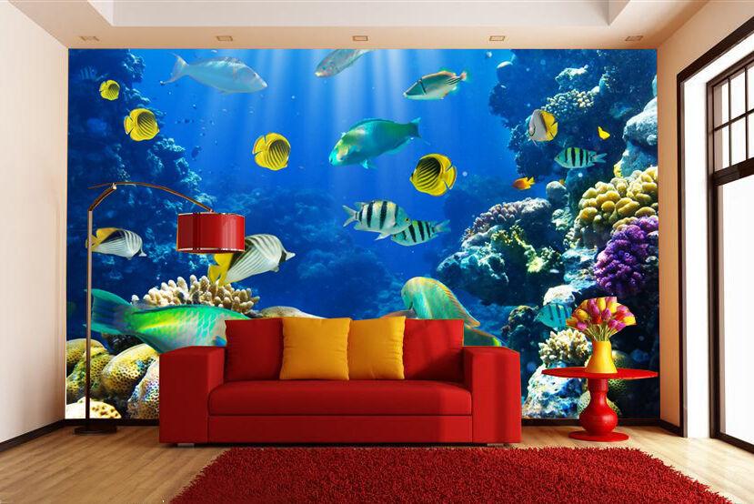 3D Mer Poisson 21 Photo Papier Peint en Autocollant Murale Plafond Chambre Art