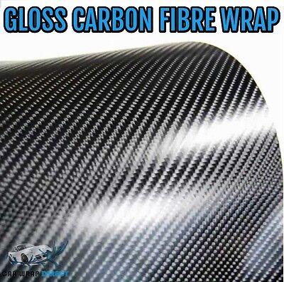 Gloss 4D Carbon Fibre Vinyl 152 x 10cm - Black - Bubble Free Car Wrapping Film