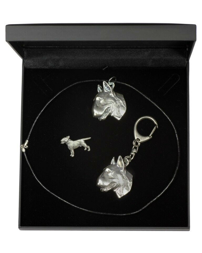 Bull Terrier type 2 - keyring, pendant, pin, set with dog in box, type 3 Art Dog