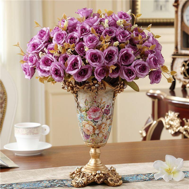 Home Furnishing Decoration Living Room Dining Room Table Vases Silk Flower Decor