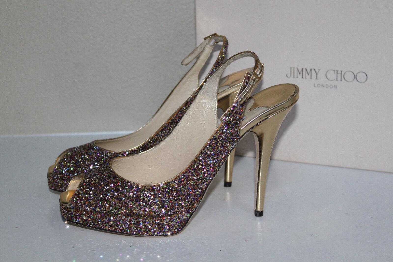 New 9.5  39.5 Jimmy Clue Choo Clue Jimmy Multi Color Glitter Slingback Platform Sandal schuhe 38760e