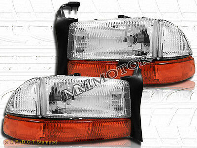 97-04 Dodge Dakota 98-03 Durango Chrome Headlights Bumper Signal Lights Pair