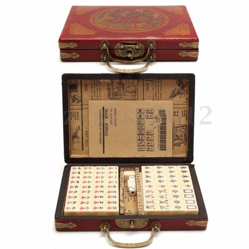 Portable Retro Mahjong  Rare Chinese 144 Mah-Jong Set Bamboo Piece w//  UK