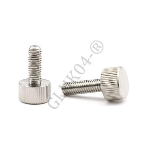 M6 Stainless Steel Cylinder Head Knurled Thumb Screws Hand Grip Knob Bolts M2