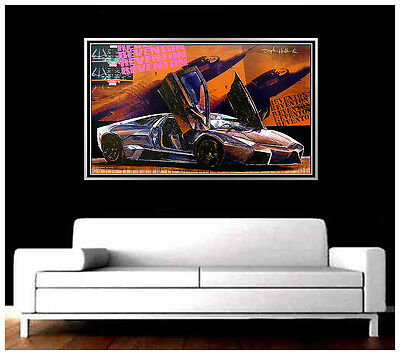 STEPHEN HOLLAND Original Giclee on CANVAS Signed Lamborghini Sports Car Artwork