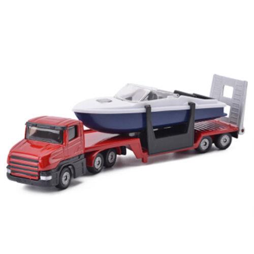 SIKU 15cm Platform Truck With Speed Boat 1//64 scale Flat Bed Trailer Model