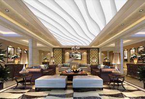 3D Lines White Ceiling WallPaper Murals Wall Print Decal Deco AJ WALLPAPER AU