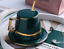 Creative-Drawing-gold-Porcelain-Tea-Cup-and-Saucer-Coffee-Cup-Set-With-Spoon-Lid thumbnail 2