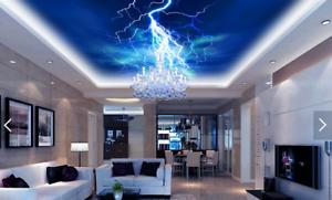 3D bluee Lightnings 82 Wall Paper Wall Print Decal Wall Deco AJ WALLPAPER Summer