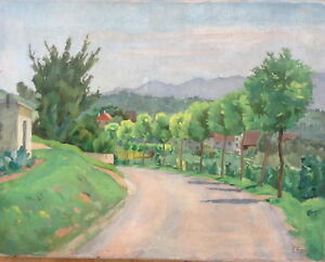 Ernst-Boss-Hart-1879-Oil-Painting-Village-view-1930-vineyards-Summer-South