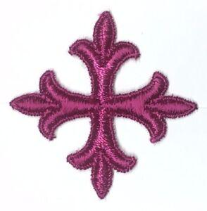 Chiesa-da-Sarto-Francese-Croce-2-034-Applique-Ricamato-da-Cucire-Purple-D-12-Pcs