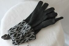Michael Kors Knit Gloves MK Signature Logo Print Gray Charcoal MSRP $42 NEW
