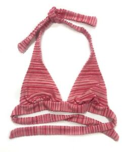 Juicy-Couture-pink-striped-terry-cloth-halter-bikini-top-not-padded-medium-med-M