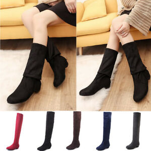 Womens-Over-The-Knee-Boots-Block-Heel-Suede-Fold-Cuff-Thigh-High-Winter-Shoes