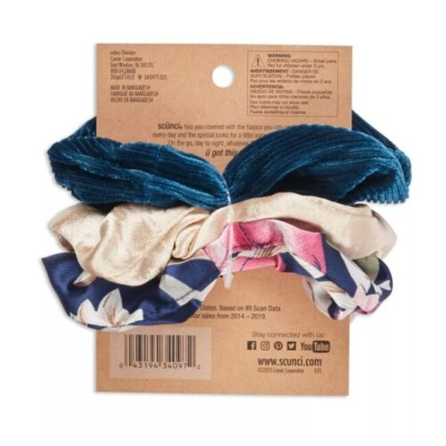 scunci Scrunchies 3pk Blue Print Gold Solid Teal Solid Damage Free 90s style
