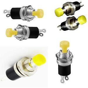 25-x-pulsante-miniatura-da-pannello-GIALLO-7-mm-normalmente-aperto-230Vac