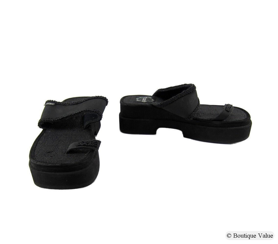 Skechers granos de Tela Negro Negro Negro Puntera De Diapositiva Sandalias Slip On Mujer Zapatos Talla 9 M Nuevo  barato y de alta calidad