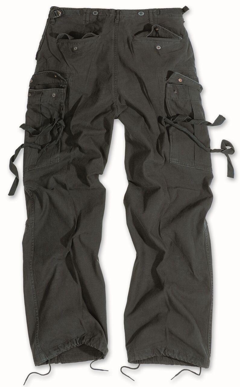 Surplus Vintage fatica Combat Pantaloni Esercito Americano Workwear Pantaloni Con Tasconi Nero