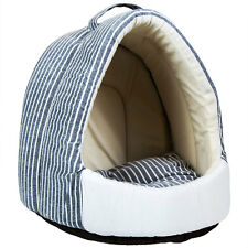 Charles Bentley Grey Striped Pet Cat Dogs Bed Cave For Small Animals H30xL33xD31