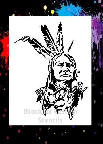 Indian Warrior 02 Airbrush Stencil,Template