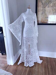 Vintage-70s-White-BoHo-Sheer-CUT-OUT-Hippy-Crochet-LACE-Angel-Wedding-Maxi-DRESS