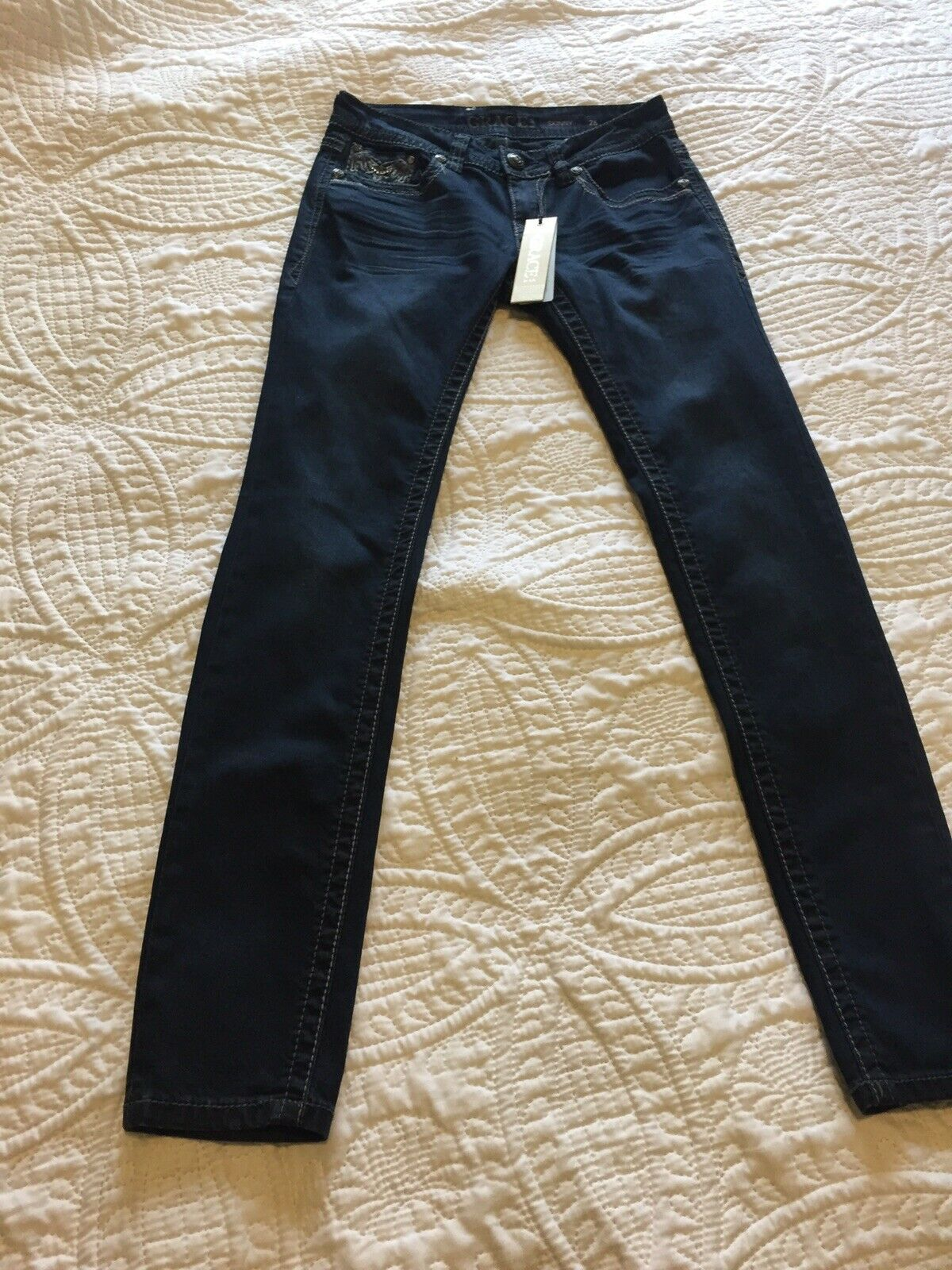 GRACE IN LA SKINNY JEANS Embroidery embellishment size 26