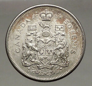 1964-CANADA-under-Queen-Elizabeth-II-SILVER-50-Cents-Canadian-Coin-Arms-i56631