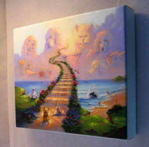 canvas wrapped onboard 11x14 rainbow bridge stairway to heaven dog