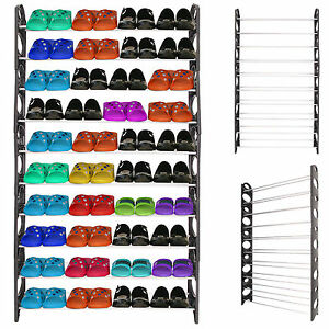 10-TIERS-60-PAIRS-SHOE-RACK-SHOES-SHELVES-ORGANIZER-STAND-STORAGE-EASY-ASSEMBLE