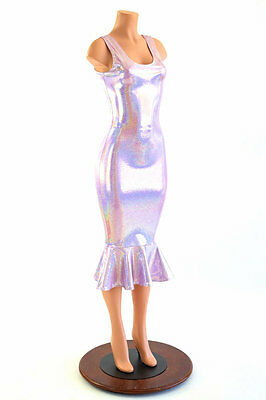 SMALL Lilac Purple Holographic Bodycon Ruffled Wiggle Tank Dress Ready To Ship!