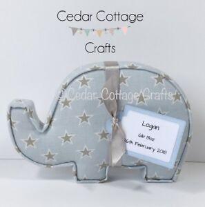Tessuto-Elefante-lettere-Wall-Art-fatto-a-mano-Nursery-Nome-Regalo-Personalizzato-Etichetta