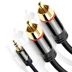 2m-Audio-Kabel-3-5-mm-Klinke-auf-2x-Cinch-RCA-Chinch-zu-AUX-Klinke-Stecker-Jack