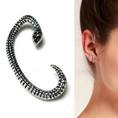 Gothic Rock Retro Vintage Snake Rhinestone Left Earring Cuff Wrap Ear nail Stud