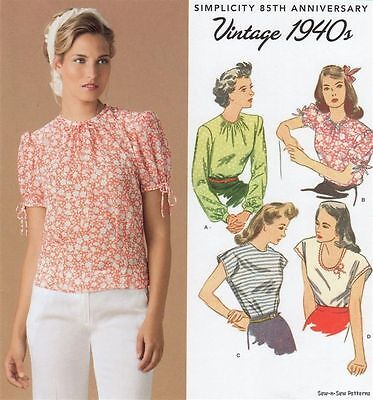Simplicity 1692 SEWING PATTERN 6-14 Retro/Vintage 40's Blouse Top 1940's WWII