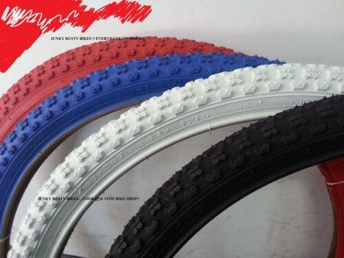 2- Tires New 24x1.75 BMX tires 24 inch white black Comp 3 design