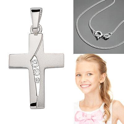 Kinder Kommunion Konfirmation Firmung Kreuz Anhänger Echt Silber 925 mit Kette