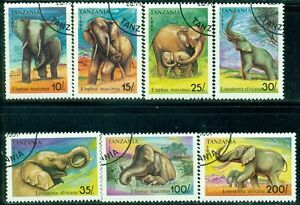 TANZANIA-Sc792-98-SG1074-80-CTO-1991-Elephants-set-of-7-SCV-16