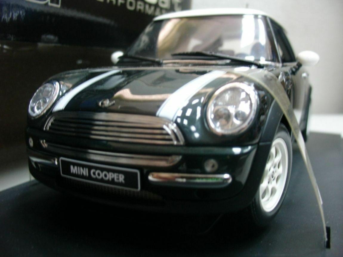 WOW EXTREMELY RARE Mini Cooper 2001 LHD Br Rac Grün Weiß Stripes 1 18 Auto Art