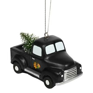 Chicago Blackhawks Truck With Tree Christmas Tree Holiday Ornament